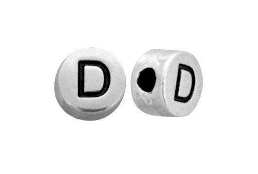 Antique Silver Plated Alphabet Bead - Letter D 7mm - 10pcs