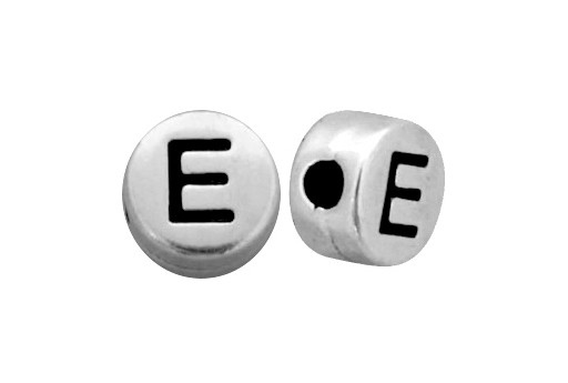 Antique Silver Plated Alphabet Bead - Letter E 7mm - 10pcs