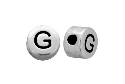 Antique Silver Plated Alphabet Bead - Letter G 7mm - 10pcs