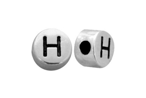 Antique Silver Plated Alphabet Bead - Letter H 7mm - 10pcs