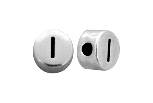 Antique Silver Plated Alphabet Bead - Letter I 7mm - 10pcs