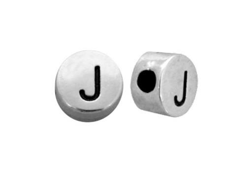 Antique Silver Plated Alphabet Bead - Letter J 7mm - 10pcs