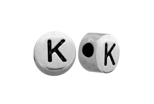 Antique Silver Plated Alphabet Bead - Letter K 7mm - 10pcs