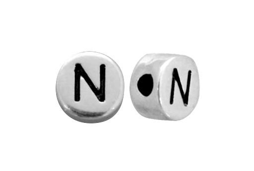Antique Silver Plated Alphabet Bead - Letter N 7mm - 10pcs