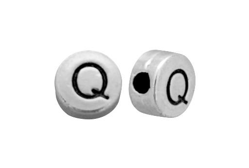 Antique Silver Plated Alphabet Bead - Letter Q 7mm - 10pcs