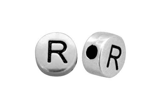 Antique Silver Plated Alphabet Bead - Letter R 7mm - 10pcs