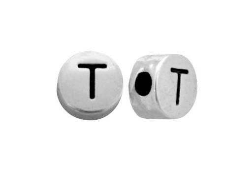 Antique Silver Plated Alphabet Bead - Letter T 7mm - 10pcs