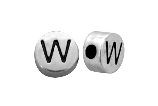 Antique Silver Plated Alphabet Bead - Letter W 7mm - 10pcs