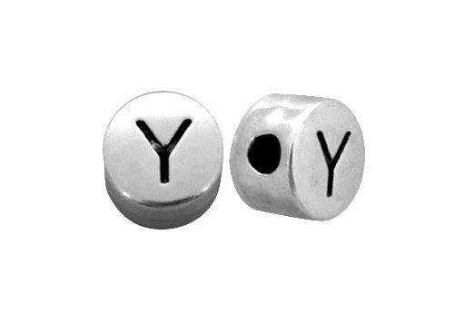 Antique Silver Plated Alphabet Bead - Letter Y 7mm - 10pcs