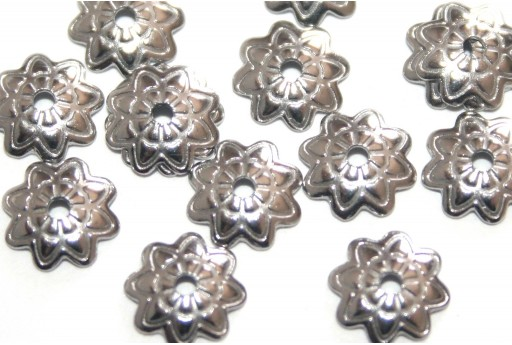 Stainless Steel Bead Caps Flower - Platinum 7mm - 12pcs
