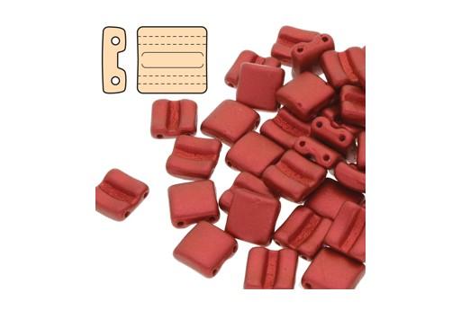Fixer Czech Glass Bead Chalk Lava Red 8x7mm - Horizontal Holes - 5gr