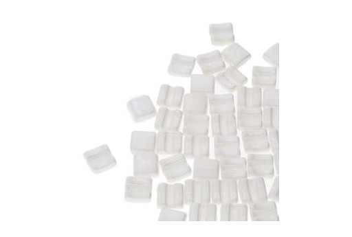 Fixer Czech Glass Bead Chalk White Luster 8x7mm - Horizontal Holes - 5gr