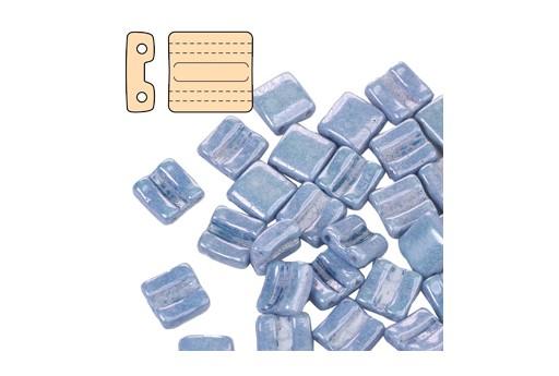 Fixer Czech Glass Bead Luster Metallic Blue 8x7mm - Horizontal Holes - 5gr