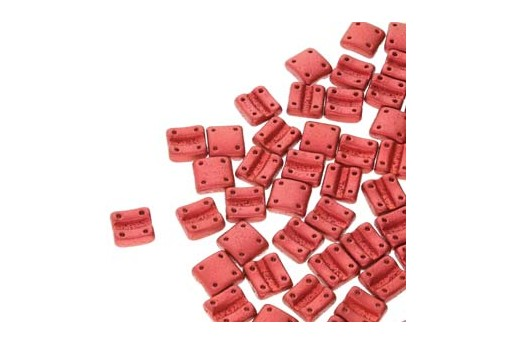 Fixer Czech Glass Bead Chalk Lava Red 8x7mm - Vertical Holes - 5gr
