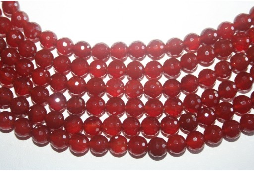 Cornelian Beads Sphere 128 Faces 8mm - 48pz