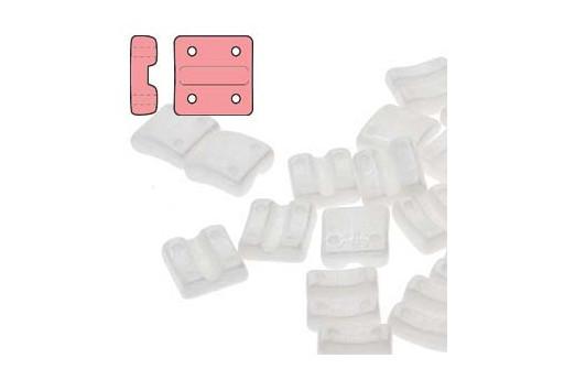 Fixer Czech Glass Bead Chalk White Luster 8x7mm - Vertical Holes - 5gr