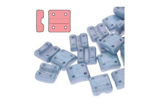 Fixer Czech Glass Bead Luster Metallic Blue 8x7mm - Vertical Holes - 5gr