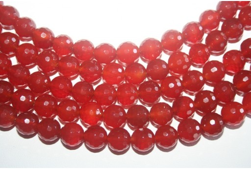 Cornelian Beads Faceted Sphere 128 Faces 10mm - 4pz