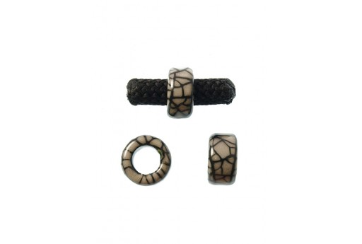 Climbing Ceramic Slider Bead 19x10mm Cracked Grey - 1pc