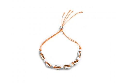 Kit Bracciale Conchiglie Ciprea argento con filo arancione