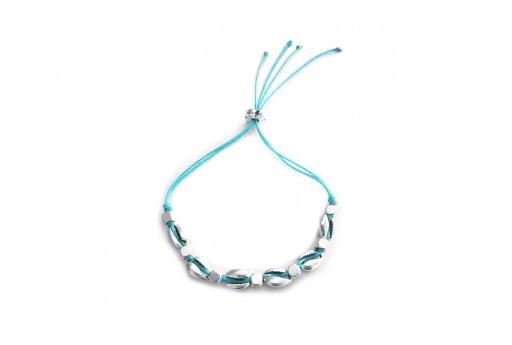 Kit Bracciale Conchiglie Ciprea argento con filo azzurro