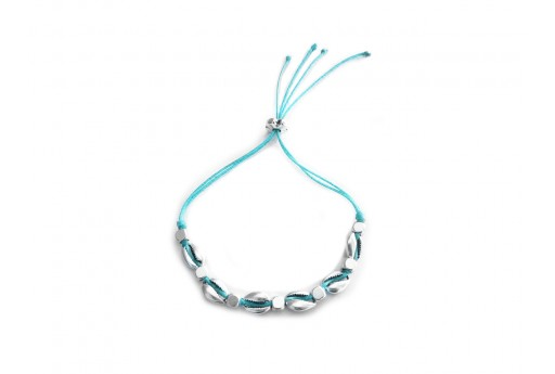 Shell Bracelet DIY Kit - Silver and light blue