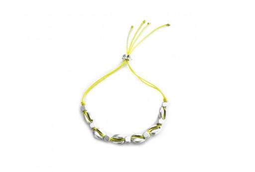 Kit Bracciale Conchiglie Ciprea argento con filo giallo