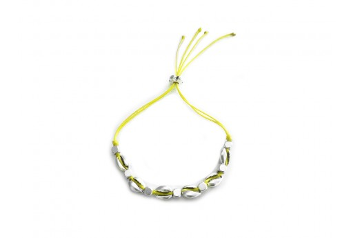 Shell Bracelet DIY Kit - Silver and yellow