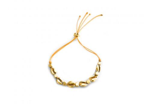 Shell Bracelet DIY Kit - Gold and orange