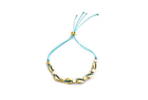 Kit Bracciale Conchiglie Ciprea oro con filo azzurro