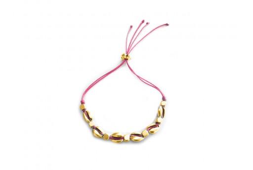 Kit Bracciale Conchiglie Ciprea oro con filo fuchsia