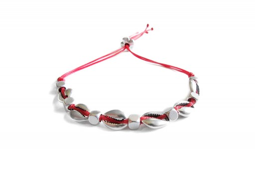 Kit Bracciale Conchiglie Ciprea argento con filo rosso