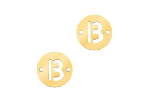 Stainless Steel Charms Connector Letter B - Gold 10mm - 2pcs
