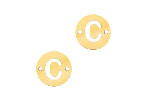 Stainless Steel Charms Connector Letter C - Gold 10mm - 2pcs