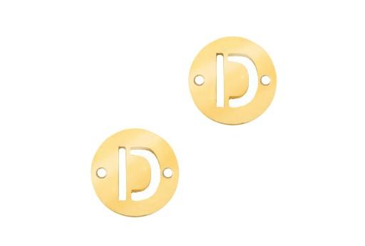 Link Acciaio Lettera D - Oro 10mm - 2pz