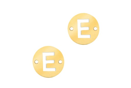 Stainless Steel Charms Connector Letter E - Gold 10mm - 2pcs
