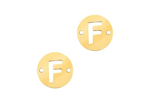 Stainless Steel Charms Connector Letter F - Gold 10mm - 2pcs