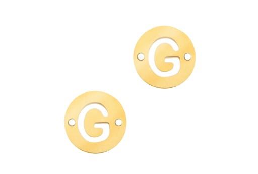 Link Acciaio Lettera G - Oro 10mm - 2pz