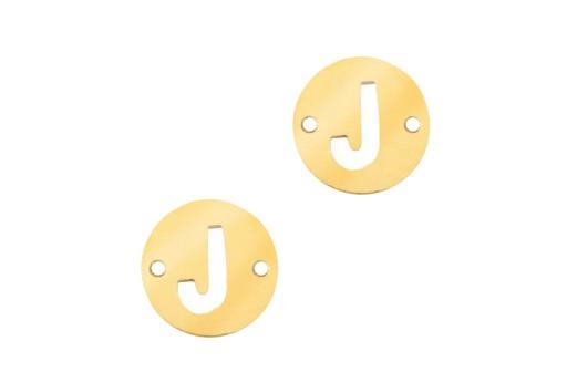 Link Acciaio Lettera J - Oro 10mm - 2pz