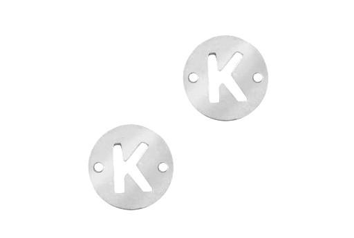 Link Acciaio Lettera K - Platino 10mm - 2pz