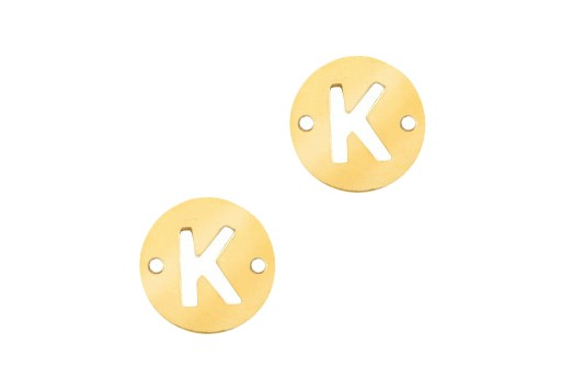 Stainless Steel Charms Connector Letter K - Gold 10mm - 2pcs