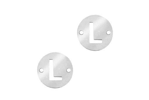 Stainless Steel Charms Connector Letter L - Platinum 10mm - 2pcs