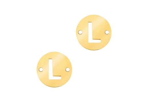 Stainless Steel Charms Connector Letter L - Gold 10mm - 2pcs