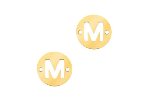 Stainless Steel Charms Connector Letter M - Gold 10mm - 2pcs