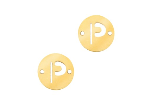 Stainless Steel Charms Connector Letter P - Gold 10mm - 2pcs