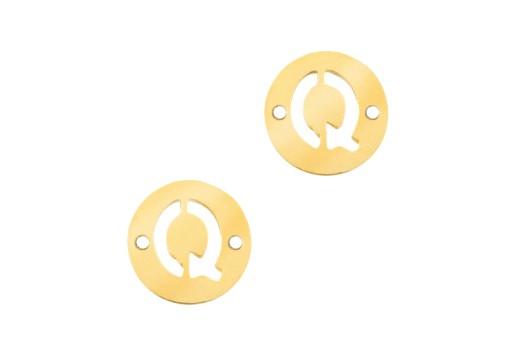 Link Acciaio Lettera Q - Oro 10mm - 2pz