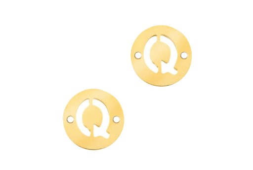 Stainless Steel Charms Connector Letter Q - Gold 10mm - 2pcs