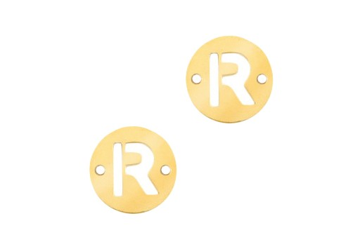 Stainless Steel Charms Connector Letter R - Gold 10mm - 2pcs