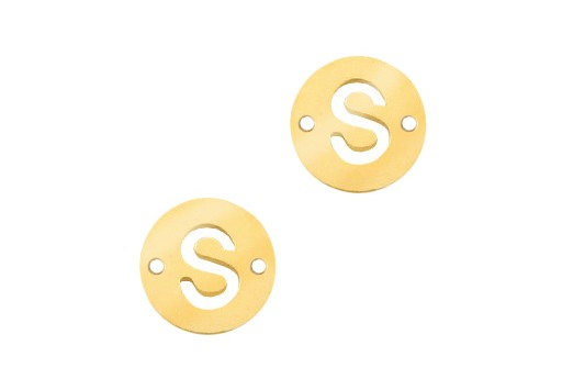 Stainless Steel Charms Connector Letter S - Gold 10mm - 2pcs