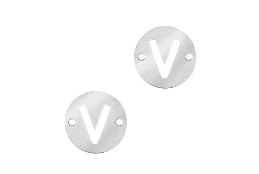 Stainless Steel Charms Connector Letter V - Platinum 10mm - 2pcs